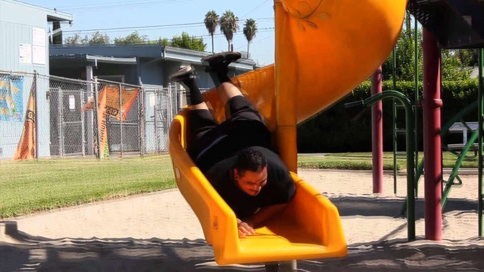 Fat Guy On A Slide !